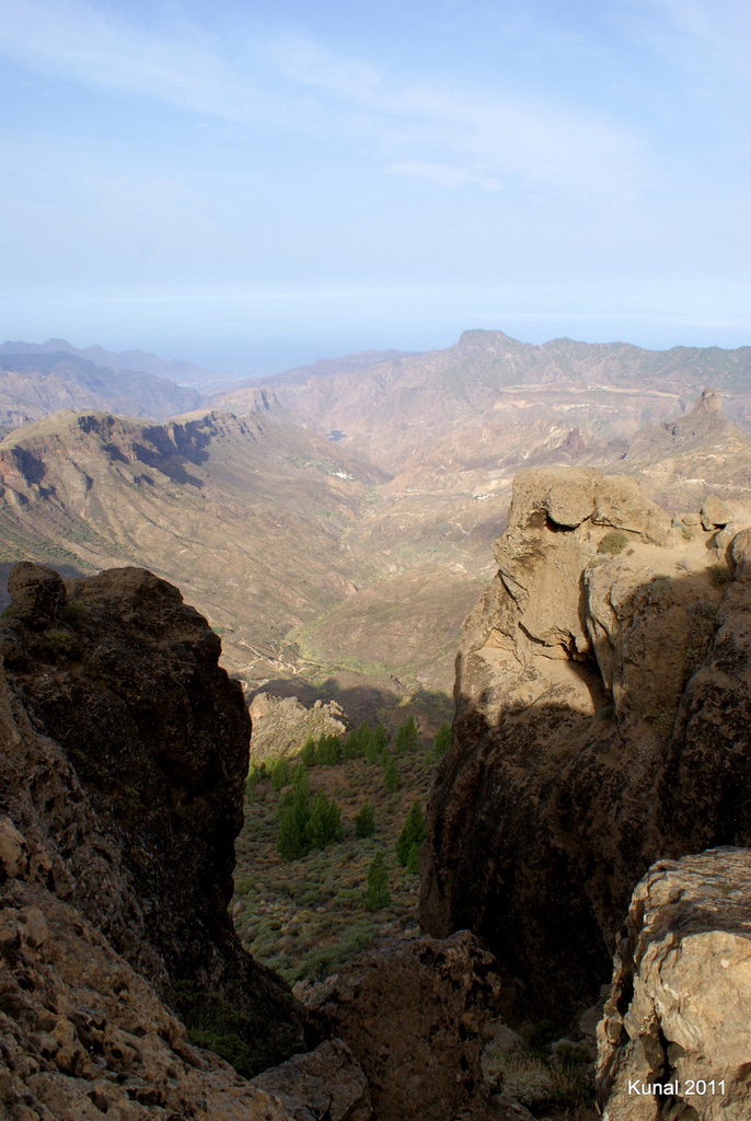 Vistas a Timagada, barranco de Tejeda desde Roque Nublo