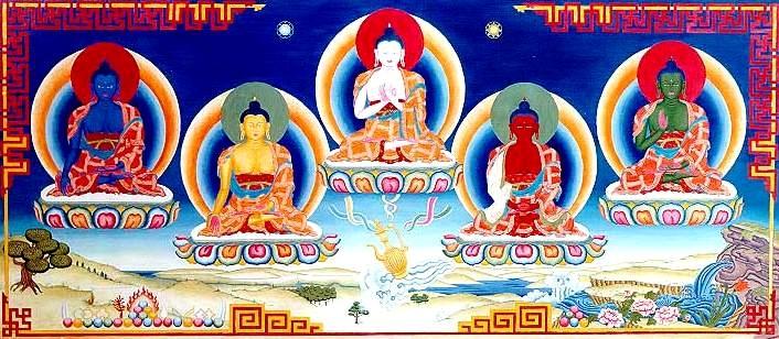 Cinco Budas Dhyani - Aksobhya - Ratnasambhava - Vairocana - Amitabha - Amoghasiddhi
