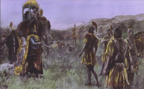 Rey Porus devolviendole las armas a Alejando Magno