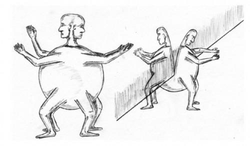 Aristófanes en el Simposio de Platón - Zeus seperando humanos