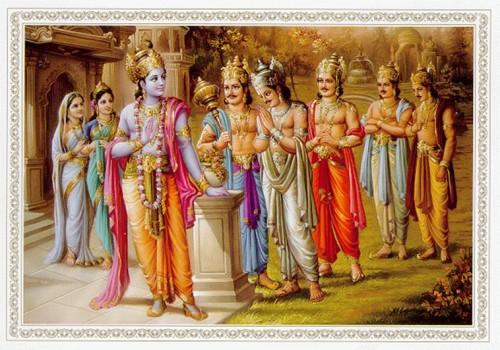 Krishna con los Pandavas, Kunti, y Draupadi