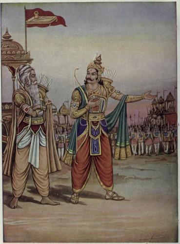 Duryodhana enseñando su ejercito a Dronacarya