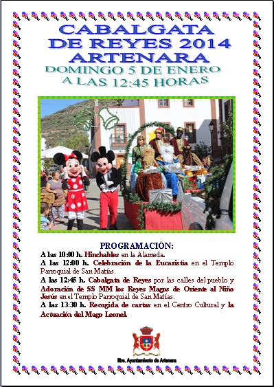 cartel cabalgata reyes 2014 artenara