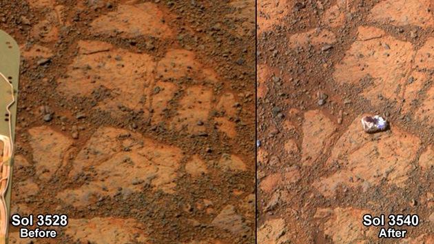 roca en marte antes y despues