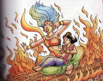 Holika se quema en el fuego