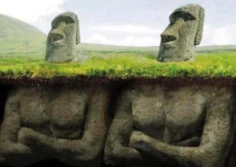 Representacion Artista de las cabezas de la Isla de Pascua