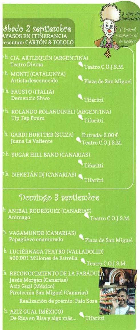 Programa Festival Payasos 3-4 Septiembre 2017