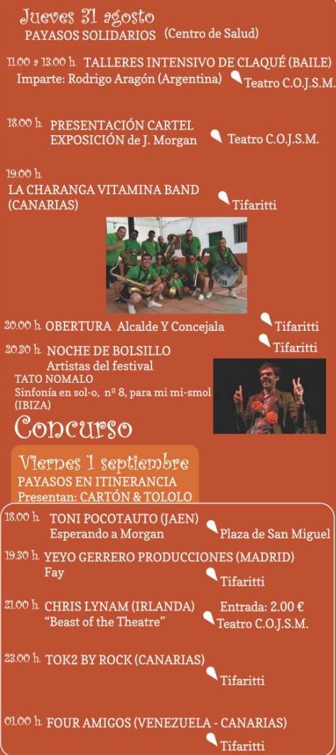 Programa Festival Payasos 31 agosto -1 Septiembre 2017