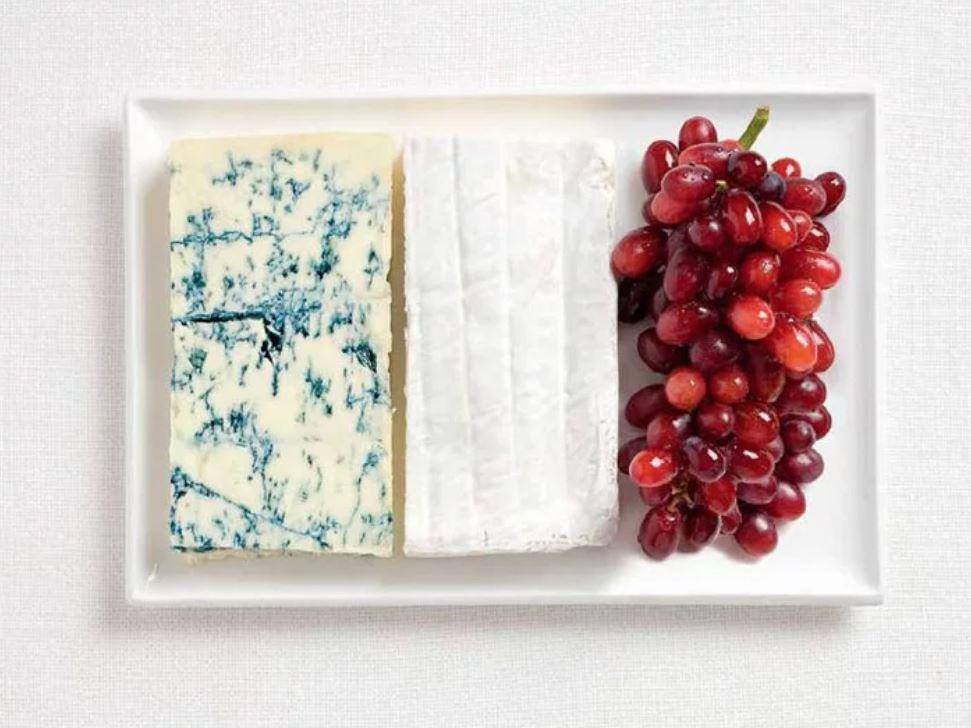 Bandera Francia - Queso Azul, Brie y Uvas