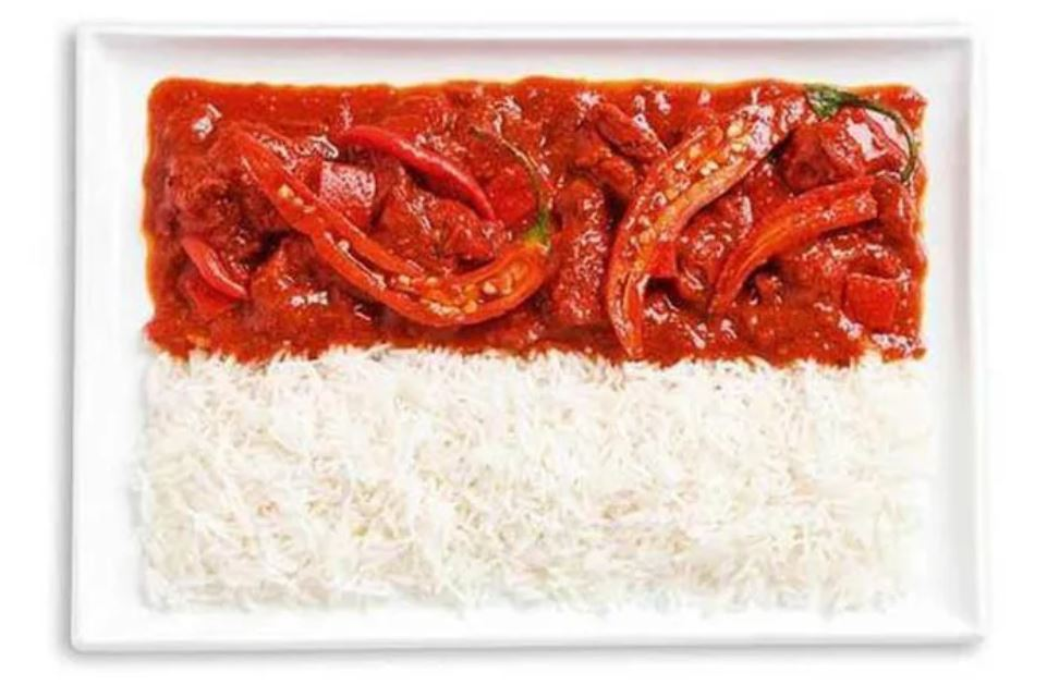 Bandera Indonesia - Sambal - Curry y Arroz