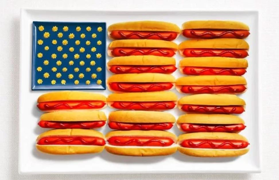 Bandera USA - Perrito Caliente, Mostaza y Ketchup