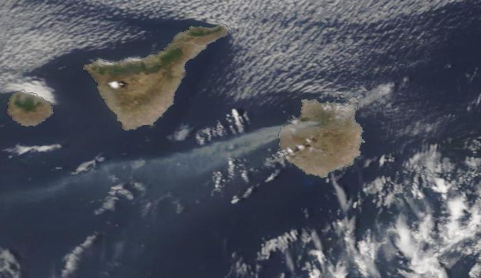 Humos del Incendio Forestal desde Espacio Gran Canaria