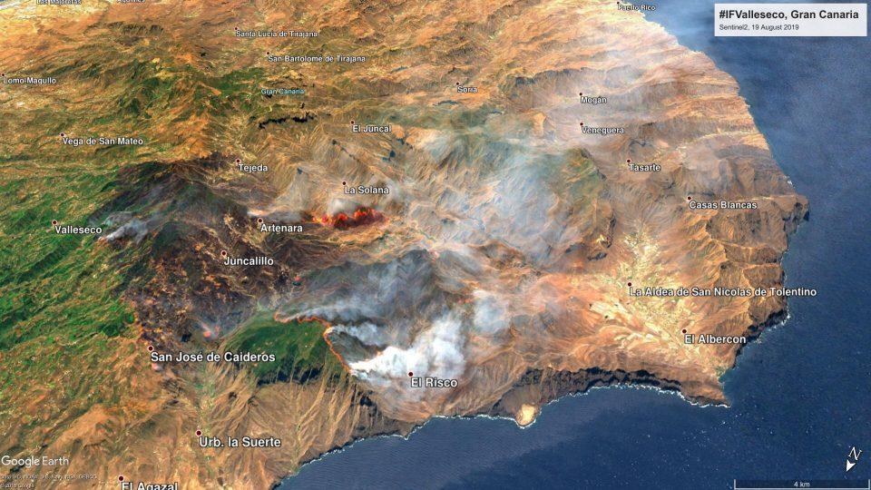 Sentinel 2A 19 Agosto Incendio Gran Canaria