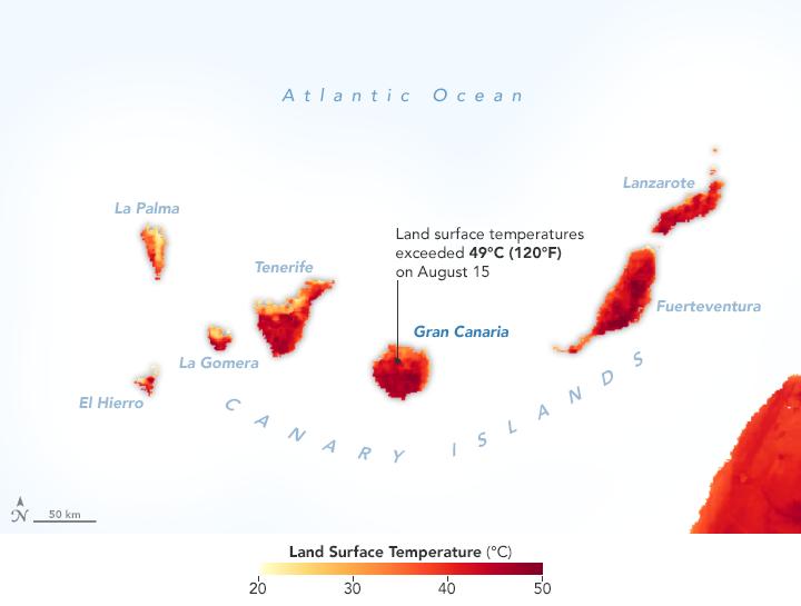 Temperatura superficie Gran Canaria el 15 de Agosto durante Incendio