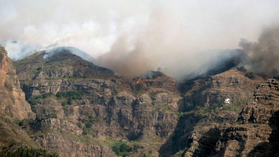 Fuego del parque de Tamadaba en Gran Canaria durante Incendio