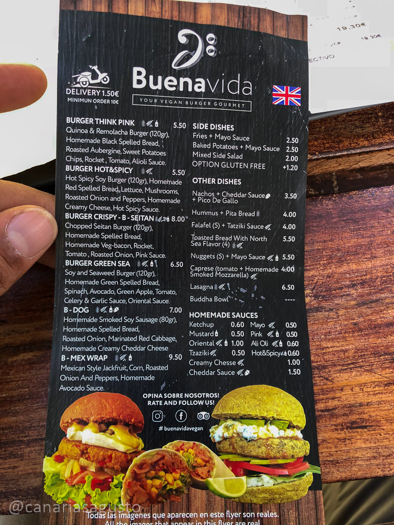 La carta de Buenavida Burger Costa Adeje