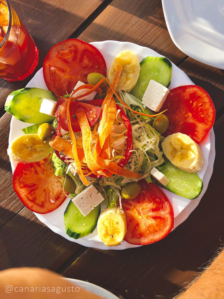 ensalada eco canaria en restaurante el guanche
