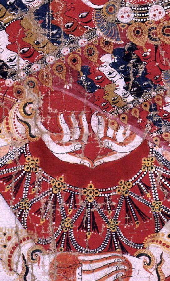 manos Vishvarupa telas pigmento Nepal