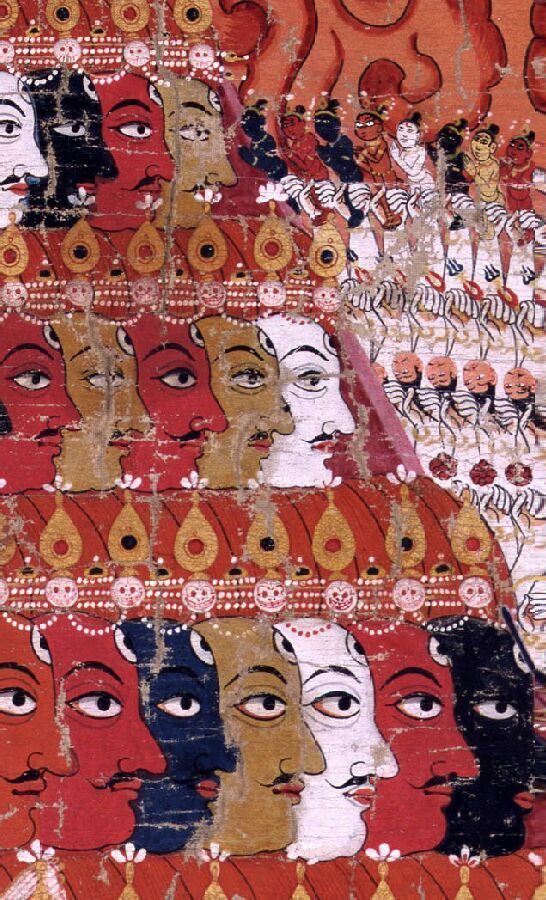 cabezas Vishvarupa telas pigmento Nepal