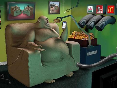 Gordo comiendo basura